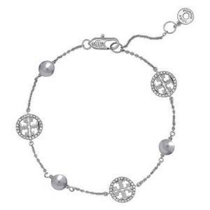 Tory Burch Bracelet Silver Pearl New